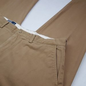 Polo Ralph Lauren Chinos 36x33 Beige Flat Front Pa